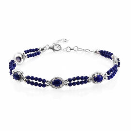 Lapis Lazuli (Ovl 7x5 mm), Blue Beads Bracelet (Size 7.50 with 1.5 inch Extender) in Sterling Silver 19.250 Ct., Silver wt 5.00 Gms.