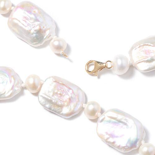 ILIANA 18K Yellow Gold Baroque White Pearl Necklace (Size 20)