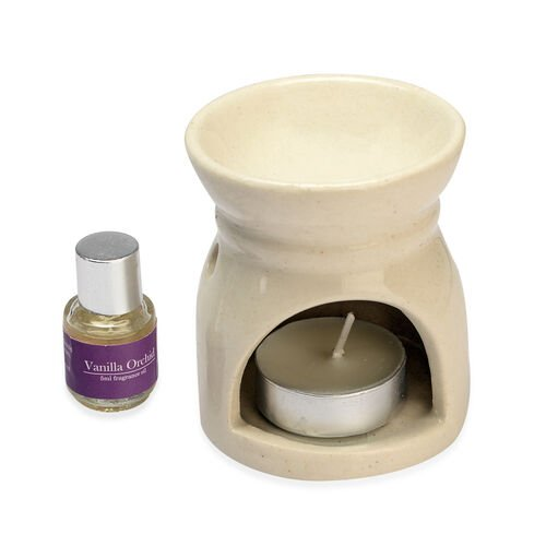 Set of 3 - Home Decor Aroma Lamp Set With 5 Ml Oil (Lemongrass Tree, Exotic Mango And Vanilla Orchid Fragrance) (Size 7.8x6.7 Cm)
