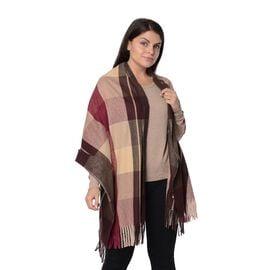 Designer Inspired-Plaid Pattern Winter Shawl with Tassels -Beige.