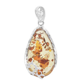 Natural Baltic Amber Pendant in Sterling Silver, Silver wt 5.78 Gms