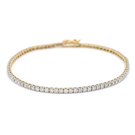 9K Yellow Gold SGL Certified Diamond (I1/H-I) Bracelet (Size 7.5) 2.00 Ct, Gold wt. 5.03 Gms