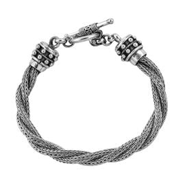 Royal Bali Collection Sterling Silver Tulang Naga Bracelet (Size 7) Toggle Lock, Silver wt 33.8 Gms.