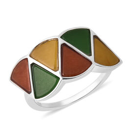 Isabella Liu Dance of Ginkgo - Green, Red and Yellow Jade Ring in Rhodium Overlay Sterling Silver 6.