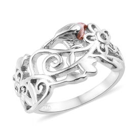 Rose Gold and Platinum Overlay Sterling Silver Ring, Silver wt 3.50 Gms