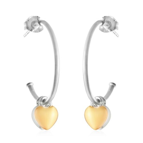 Sandblasted with Yellow Gold Overlay Sterling Silver J Hoop Earrings (with Push Back)