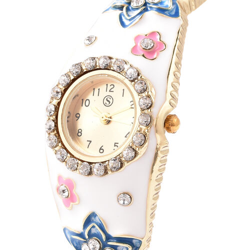 STRADA Japanese Movement White Austrian Crystal Studded Water Resistant Enamelled Flower Pattern Bangle Watch (Size 6.5) in Gold Tone
