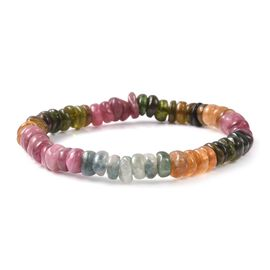 98.50 Ct Rainbow Tourmaline Beaded Bracelet 7 Inch