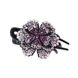 Three Teeth Flower Duck Clip - Dark Purple, Light Purple and AB Colour