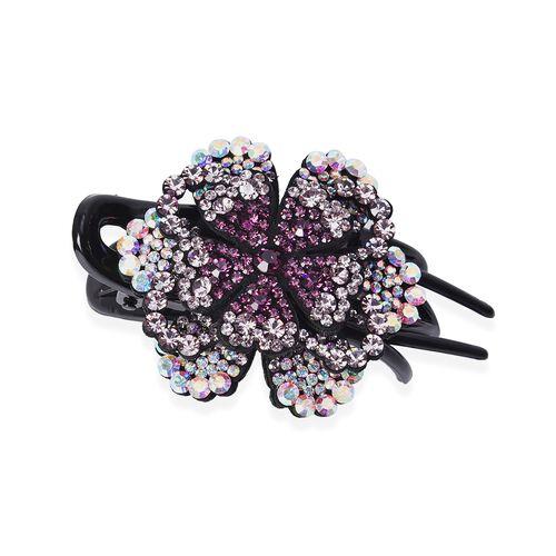 Three Teeth Flower Duck Clip - Dark Purple, Light Purple and AB Colour