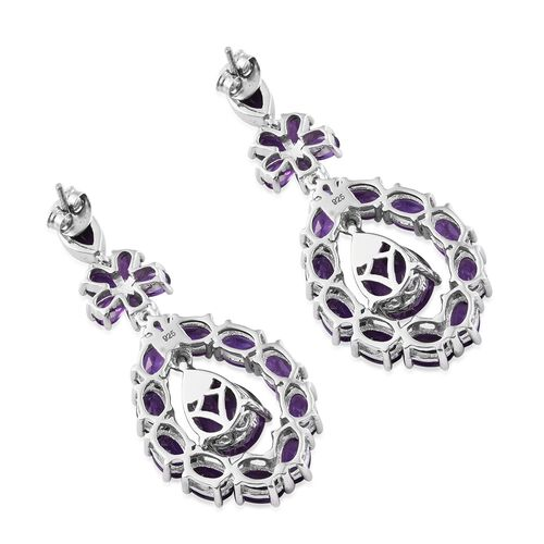 Designer Inspired- Lusaka Amethyst (Pear) Floral Earrings (with Push Back) in Platinum Overlay Sterling Silver 16.000 Ct. Silver wt. 10.15 Gms.