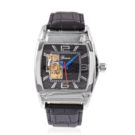 GENOA Automatic Mechanical Movement Black Dial Water Resistant Watch in Silver Tone with Black Strap
