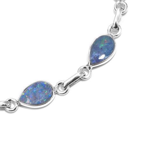Hand Made Australian Boulder Opal (Pear) Bracelet (Size 7.5 with Extender) in Sterling Silver