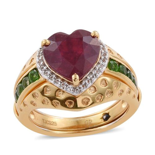 GP African Ruby (Hrt 5.15 Ct), Russian Diopside, White Topaz and Kanchanaburi Blue Sapphire Ring in 14K Gold Overlay Sterling Silver 6.000 Ct. Silver wt 6.86 Gms.
