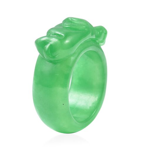 Carved Green Jade Upturned Elephant Trunk Band Ring 41.00 Ct.