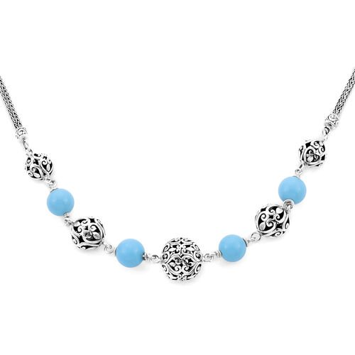 Royal Bali Collection - Arizona Sleeping Beauty Turquoise Beads Necklace (Size 24 with Extender) in