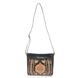 100% Genuine Leather RFID Black Colour Handpainted Multicolour Abstract Pattern Crossbody Bag with Adjustanble Strap (Size 30x24x6 Cm)