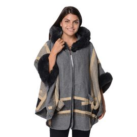 Stripes Pattern Half Round Shape Free Size Blanket Wrap with Faux Fur Hood, Sleeves and Two Front Po