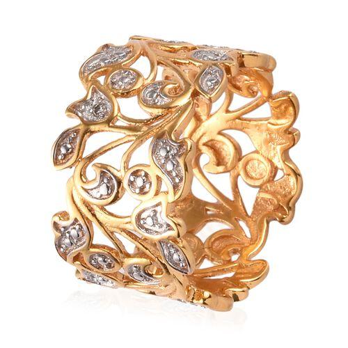 Designer Inspired- Diamond (Rnd) Leaf Ring in 14K Gold and Platinum Overlay Sterling Silver