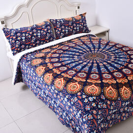 Set of 3 - Microflannel Mandala Printed Comforter in King Size with Sherpa Lining with 2 Sherpa Pill