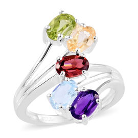 Sky Blue Topaz (Ovl), Mozambique Garnet, Hebei Peridot, Amethyst and Citrine Bypass Ring in Sterling