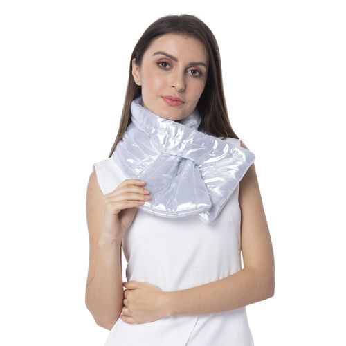White and Silver Colour Scarf with Blink Effect (Size 107x18 Cm)