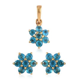 2 Piece Set -  Neon Apatite Floral Pendant and Stud Earrings (with Push Back) in 14K Gold Overlay St