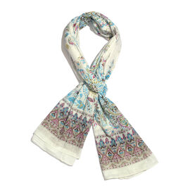 100% Cotton White, Blue and Multi Colour Scarf (Size 180x100 Cm)