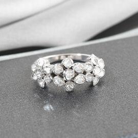 White Diamond , Kanchanaburi Blue Sapphire Ring in Platinum Overlay Sterling Silver 0.25 ct  0.520  Ct.