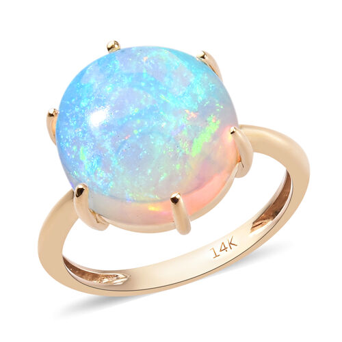 4.75 Ct Ethiopian Welo Opal Solitaire Ring in 14K Yellow Gold