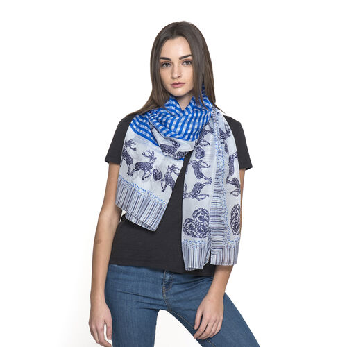 Last Chance - 100% Mulberry Silk Blue and White Colour Deer Pattern Scarf (Size 180x100 Cm)