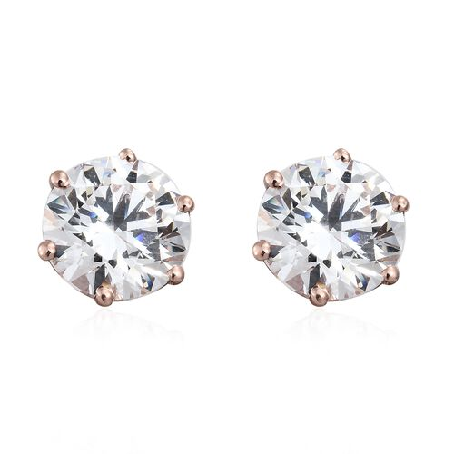 J Francis - Rose Gold Overlay Sterling Silver (Rnd) Stud Earrings (with Push Back) Made with SWAROVSKI ZIRCONIA (Equivalent Ct. wt 4.080)