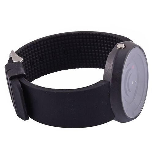 STRADA Japanese Movement Black Colour Dial Watch with Stainless Steel Back and Black Silicone Strap