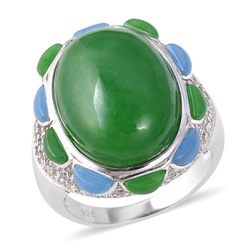 Green Jade, Blue Jade and Natural Cambodian Zircon Ring in Rhodium Overlay Sterling Silver 23.50 Ct,