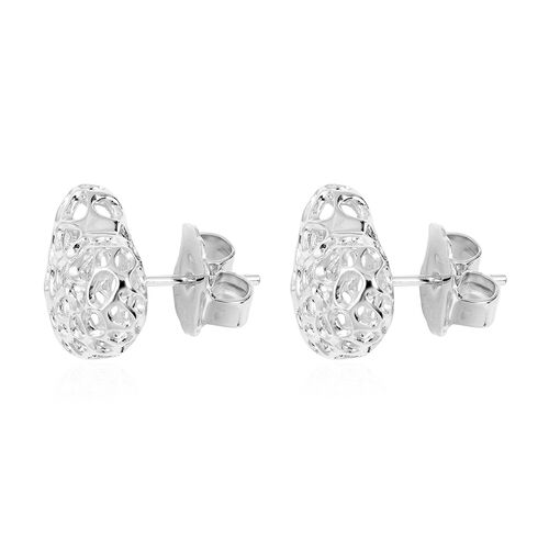 RACHEL GALLEY  Rhodium Overlay Sterling Silver Amore Heart Stud Earrings (with Push Back)