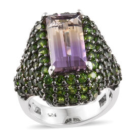 Limited Edition- AAA  Anahi Ametrine (Bgt 3.45 Ct), Russian Diopside Cluster Ring (Size N) in Platinum and Bl