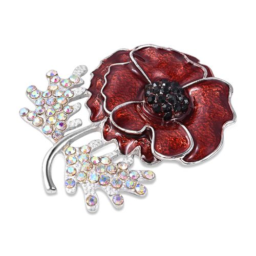 TJC Poppy Design Black Austrian Crystal (Rnd), Simulated Mystic White Crystal Poppy Flower Enamelled Brooch