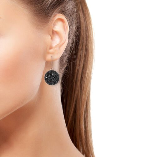 Boi Ploi Black Spinel (Rnd) Earrings (with Lever Back) in Rose Gold Overlay with Black Plating Sterling Silver 5.000 Ct, Silver wt 8.67 Gms.