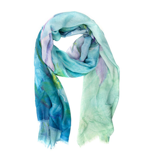 Designer Inspired- Green, Purple and Multi Colour Lily Flower Pattern Scarf (Size 170x75 Cm)