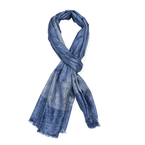 Blue and Grey Colour Woven Scarf (Size 180x70 Cm)