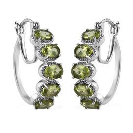 Hebei Peridot Hoop Earrings (with Clasp) in Stainless Steel 4.00 Ct.