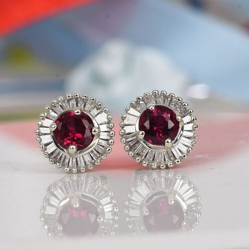 9K White Gold AA Ouro Fino Rubelite and Natural Diamond Stud Earrings (with Push Back) 0.75 Ct.