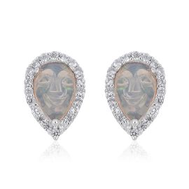 Smiling Face Carved Ethiopian Welo Opal (Pear), Natural White Cambodian Zircon Stud Earrings (with Push Back) in Rhodium Plated Sterling Silver 2.110 Ct.