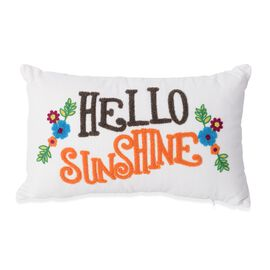 White and Multi Colour Hello Sunshine Embroidery Decorative Cushion (Size 45x28 Cm)