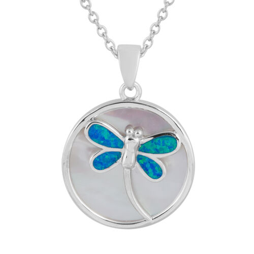 New Concept - Simulated Ocean Blue Opal and Mother of Pearl Dragonfly Pendant With Chain (Size 20) in Rhodium Overlay Sterling Silver.