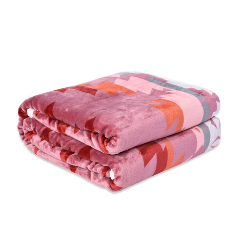 Tribal Pattern Flannel Sherpa Blanket (190x150cm) - Dusty Pink, Orange and Multi Colour