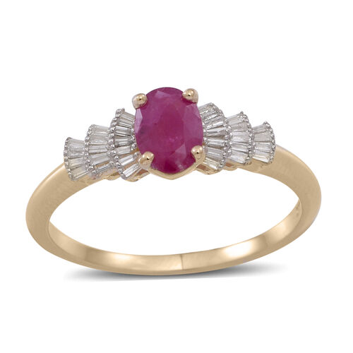 9K Y Gold Burmese Ruby (Ovl 1.00 Ct), Diamond Ring 1.250 Ct.