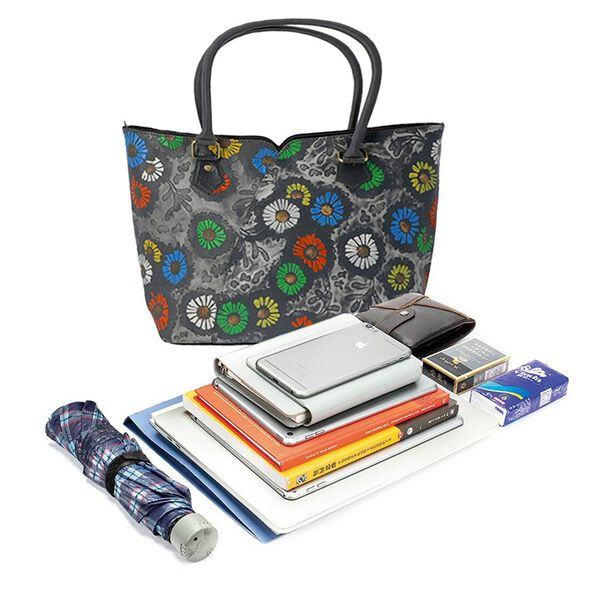 100% Genuine Leather Colourful Flowers Pattern Shoulder Bag (Size 29x10x26 Cm) - Grey