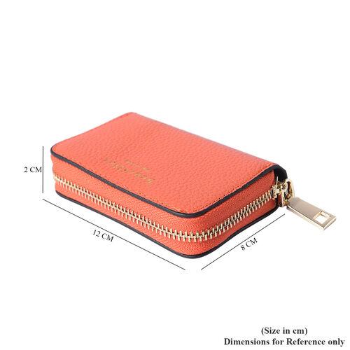 Sencillez - Genuine Leather Card Holder RFID Wallet with Zipper Closure (Size 11x2x7cm) - Orange