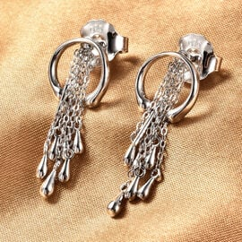 LucyQ Drip Collection - Rhodium Overlay Sterling Silver Raindrop Earrings (with Push Back)